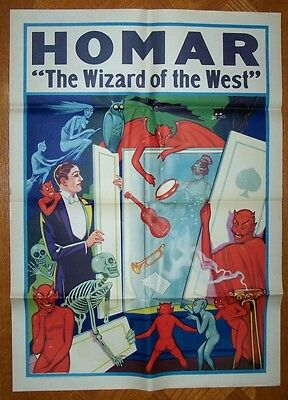 HOMAR - The Wizard of the West Vintage Magic Poster - The Spirit Cabinet 1920's