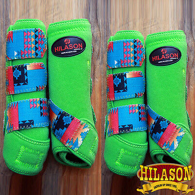 Medium Hilason Aztec Lime Horse Front Rear Leg Protection Sports Boot 4 Pack