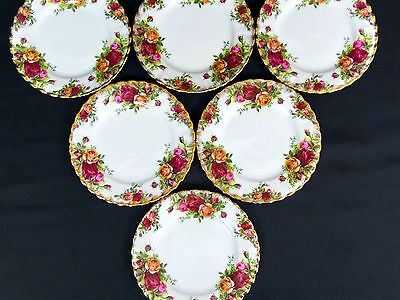 6 OLD COUNTRY ROSES 16cm SIDE PLATES, 1st QUALITY, GOOD CONDITION, ROYAL ALBERT