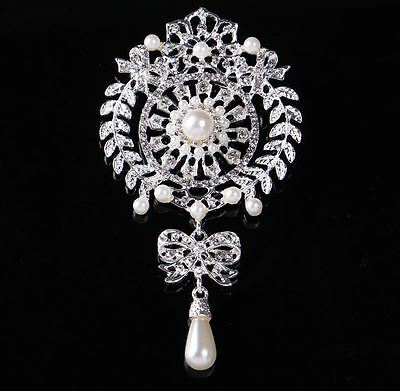 Extra Large Silver White Faux Pearl Diamante Crystaltear  Drop Bow Brooch Pin