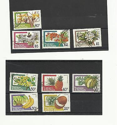 Antigua & Barbuda 1983 Fruit and Flowers 9v used to $5.