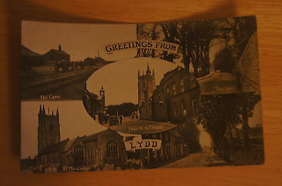 Rare Vintage Postcard GREETINGS FROM LYDD Multiview Artillery Camp High Street