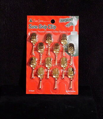 Gold Tone / Brass Heavy Duty Christmas Ornament Hanger Clips - NIP