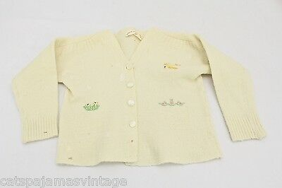 """VTG Baby or Doll Sweater w Bird Embroidery Astria Wool 1940s 14-15"""" Chest Sz 1"""