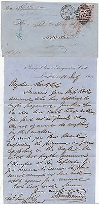 1863 LONDON EC75 DUPLEX 6d SMALL CORNER LETTERS & LETTER TO INDIA CAT £225 COVER