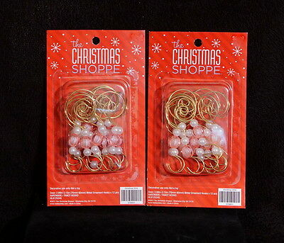 Decorative Gold Tone Brass Christmas Ornament Hangers Pink Beads & Pearls - NIB