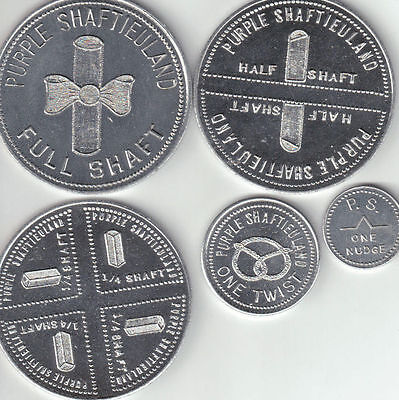 """VERY RARE"" - 1970 - Purple Shaftieuland Set of 5 Aluminum or Brass coins- UNC."