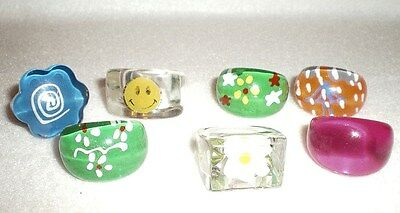 7 Vintage Chunky Domed Retro Now Lucite Plastic Rings Painted Floral Happy Face