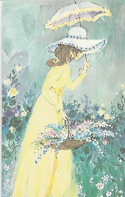 Vintage Birthday Card Brunette Girl with Parasol and Hat UNUSED