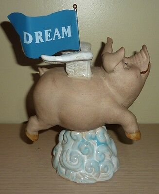 Large Flying Pig Figurine ~ Flying above the Clouds with a Dream Banner