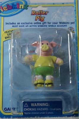Webkinz Set of 3 'Roller Pig Figurine+Necklace+Stickers' All NEW!