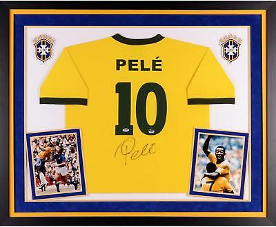 Pele Brazil Autographed Deluxe Framed Toffs Yellow Jersey
