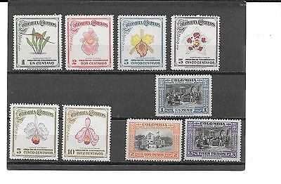 Colombia- 1947 Orchids Set Plus 3 Nice Airmail Stamps ( Low Price )