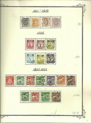 Sweden- 1911-1921 -- 77 Used Stamps
