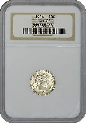 1914 Barber Dime MS65 NGC Mint State 65