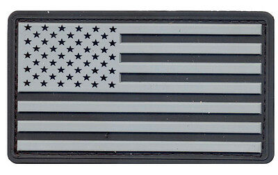 US Flag Subdued Silver/Black US Flag PVC Patch Hook & Loop Airsoft Paintball