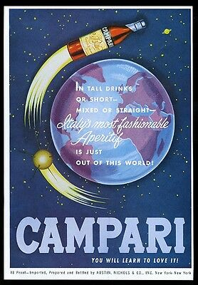 1962 Campari bitter outer space rocket satellite earth color vintage print ad