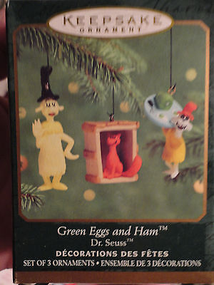 Hallmark ornament Green Eggs and Ham set of 3 MINIATURE Dr Seuss NEW in box 2000