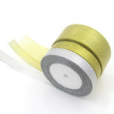 25 Yard  Craft Jewellery Sparkle Glitter Decoration Organza Ribbons Silk Tapes