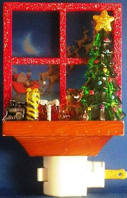 Christmas Tree Window Night Light Santa Claus Sleigh Glitter Extra Bulb Rotate