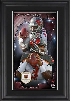 Jameis Winston TB Buccaneers Framed 10x18 Photo with Piece of Game-Used Football