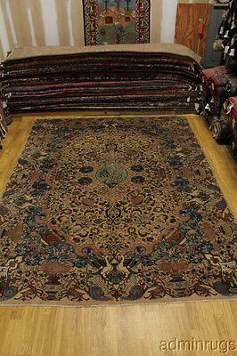 Unique Historical Muted Hunting Kashmar Persian Oriental Area Rug Carpet 10X13