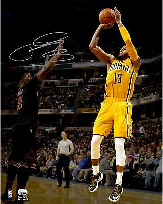 "Paul George Indiana Pacers Autographed 16"" x 20"" Jumpshot Photograph"