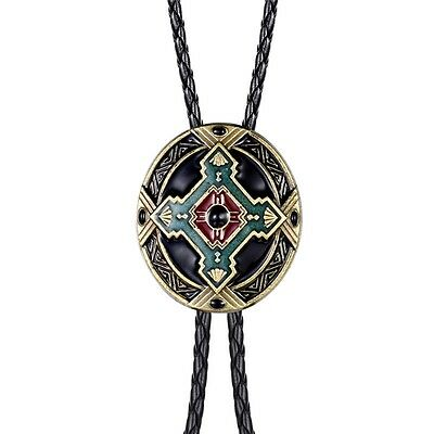 Bronze Oval Native Indian Western Cowboy Rodeo Bolo Tie Leather Rope Necktie