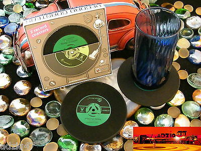 ♫ 2 Coaster Mug Vinyl Record Silicone For Your Drink Favorite Green ♫