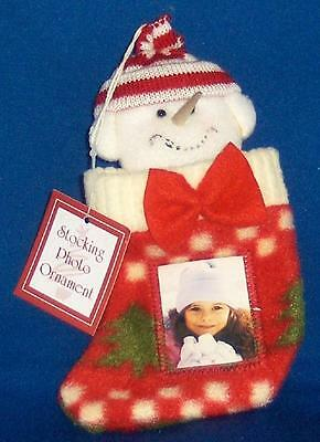 Snowman in Stocking Photo Frame Ornament NWT Christmas Soft FREE Shipping in U S