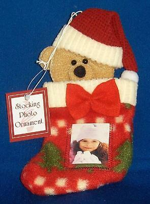 Teddy Bear in Christmas Stocking Photo Frame Ornament NWT Holiday Soft Free Ship