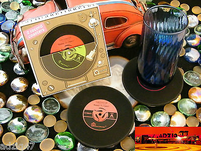 ♫ 2 Coaster Mug Vinyl Record Silicone For Your Drink Favorite Red ♫