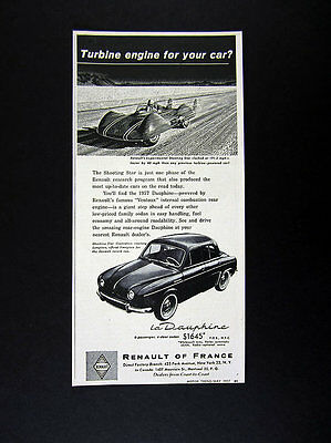 1957 Renault Shooting Star Land Speed Car illustration art vintage print Ad
