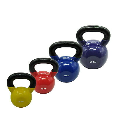 8Kg + 12Kg + 16Kg + 20Kg = Total 56Kg Iron Vinyl Kettlebell Weight Training