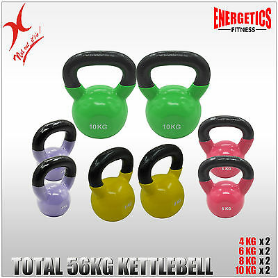 4KGx2 + 6KGx2 + 8KGx2 + 10KGx2 = TOTAL 56KG IRON VINYL KETTLEBELL WEIGHT TRAININ