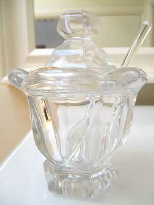 RARE Baccarat  CRYSTAL  Lidded mustard Bowl with Spoon 12CM H