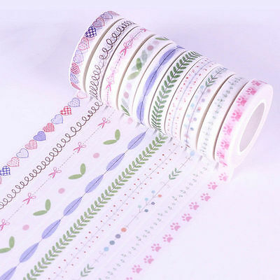 10 Roll 10m Hand Painted Washi Tape Scrapbooking DIY Craft Paper Sticky Sticker