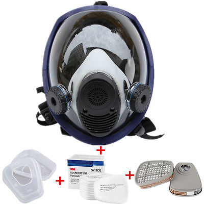 Full Face Gas Mask Facepiece Respirator Painting Spraying Survival For 3M 6800