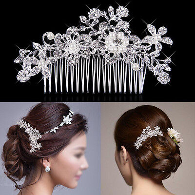 Crystal Rhinestones Pearls Diamante Hair Comb Clip Barrette Bridal Wedding Party