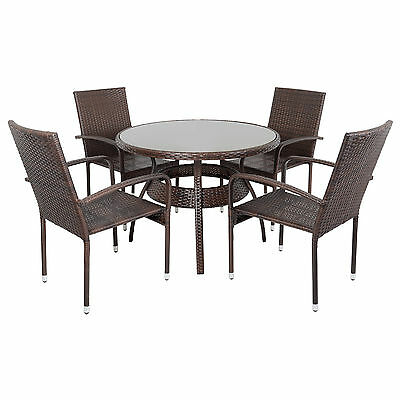 Ravenna Dining Table 4 Chairs Brown Rattan Wicker Aluminium Garden Patio Outdoor