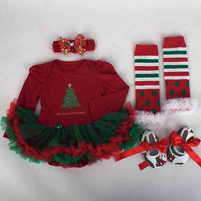 Christmas Baby Girl Newborn Party Outfits Tutu Skirt Romper Clothing Sets Dress