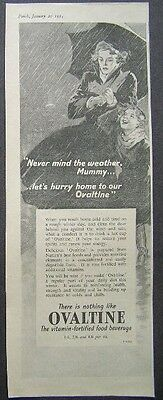 1954 advert for OVALTINE VITAMIN-FORTIFIED FOOD BEVERAGE 1950s advertising