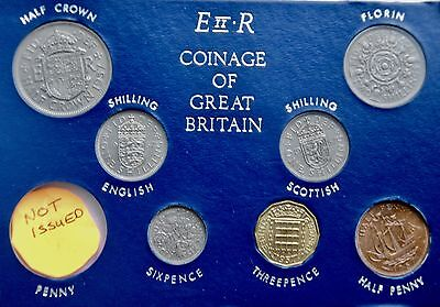 1957 Set of all Issued coins Halfpenny to Halfcrown on Card