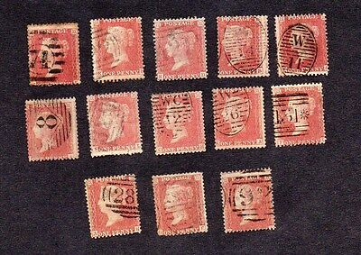 GB.QV.1856-58. 13x1d RED 'STARS' STAMPS.GOOD USED.