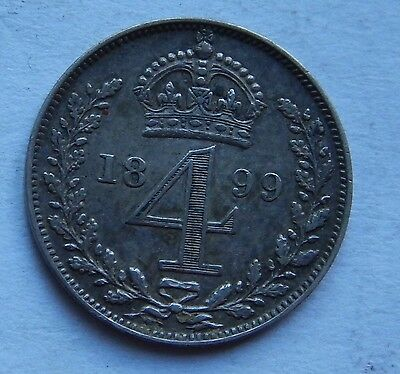 Maundy Fourpence Groat Victoria 1899