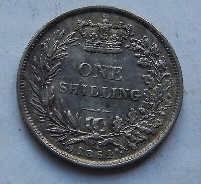 Shilling Victoria Young Head 1864 Die Number 64 VF  .925 Silver
