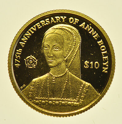 VIRGIN ISLANDS, 2011 GOLD PROOF MINIATURE COIN, $10, 13.92mm aFDC