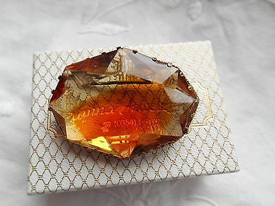 Vintage Large Oval Cut  AMBER Glass Brooch /Fur Pin Excellent Condition Boxed