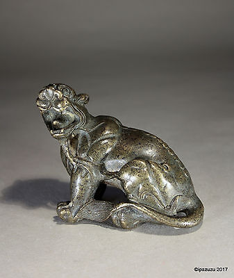 Vintage Chinese Bronze Scroll Weight Mythical Beast