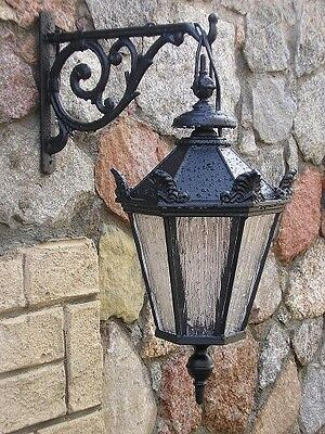 Large Victorian style wall lantern/lamp with cast iron bracket wall lights.